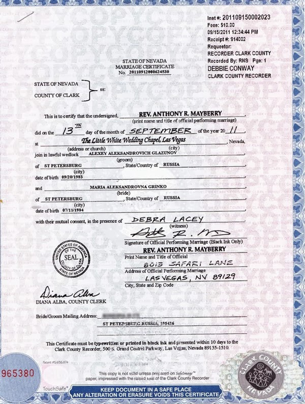 Copy of Mariage Certificate