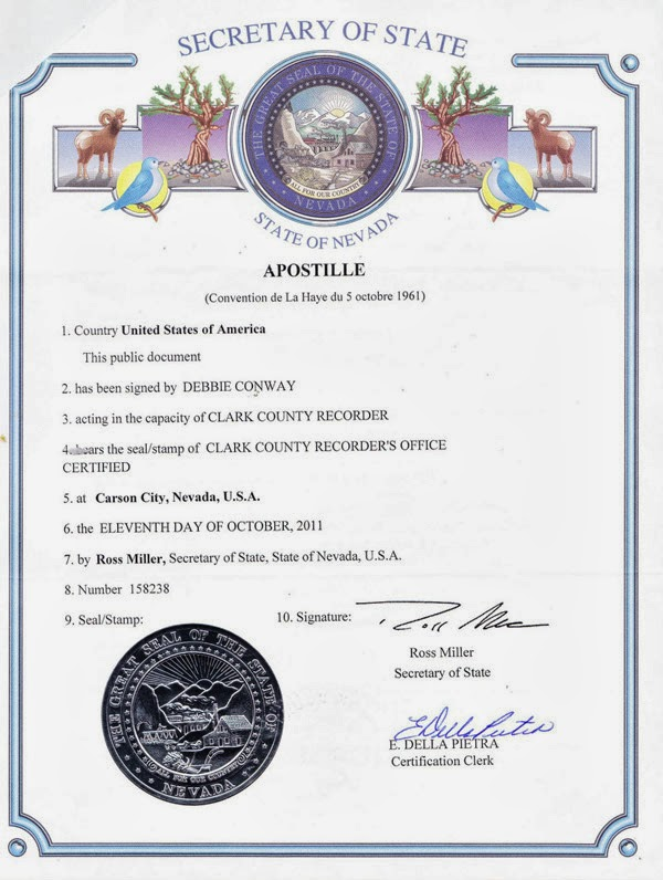 Apostile of Marriage Certidicate