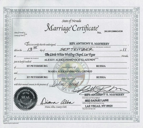 Mariage Certificate