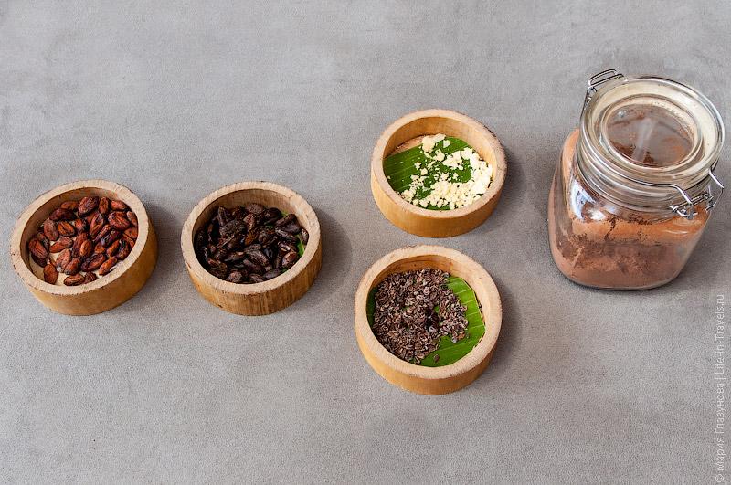 Какао-бобы, какао-порошок, масло какао
