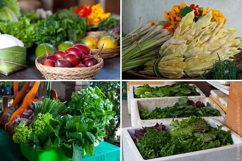 Свежая зелень и фрукты