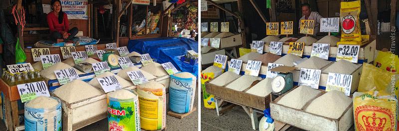 Обычная продажа риса на рынке