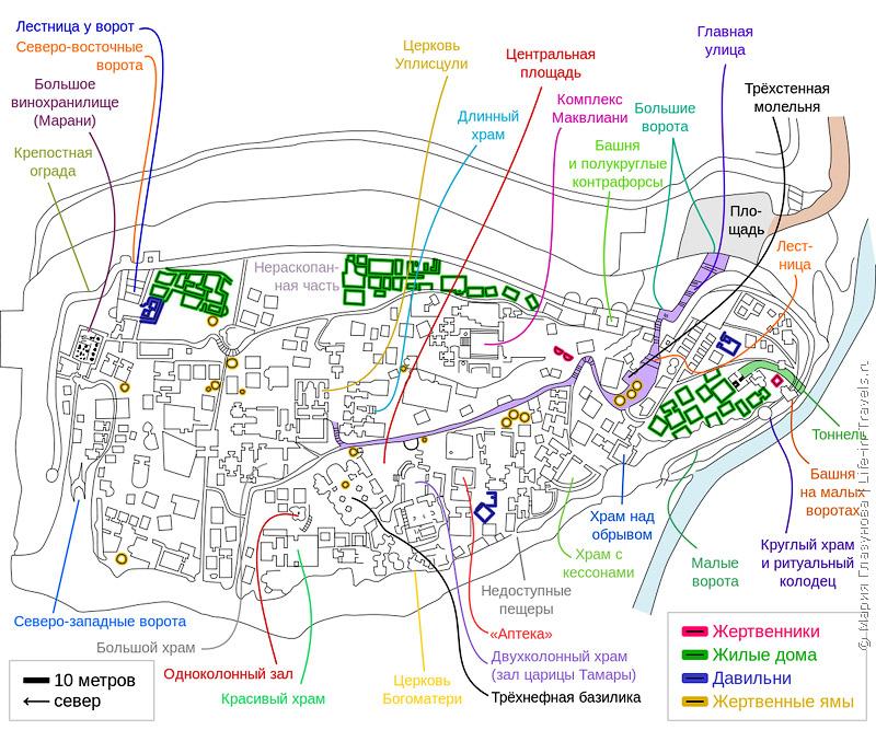 Схема пещерного города Уплисцихе
